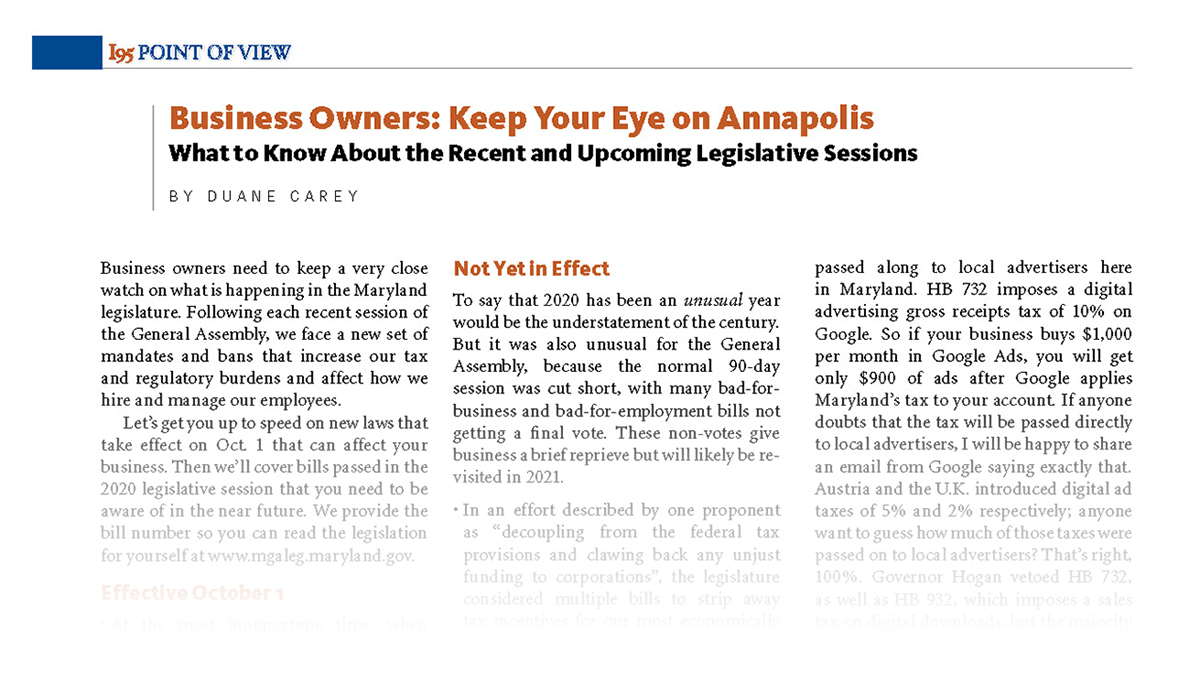 Business Owners: Keep Your Eye on Annapolis