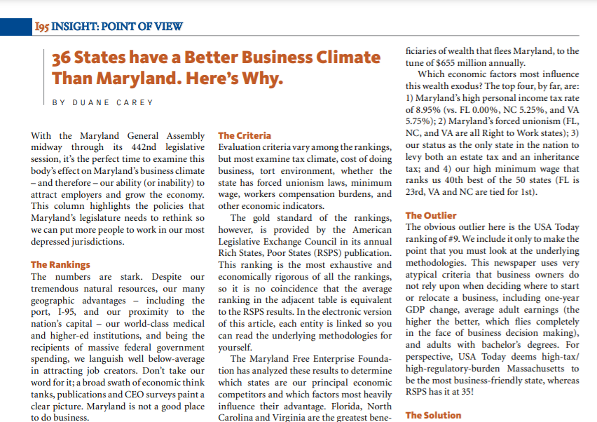 36 States have a Better Business Climate Than Maryland. Here's Why.