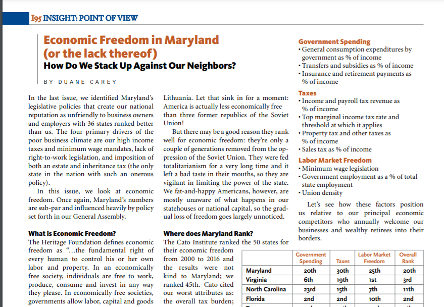 Economic Freedom in Maryland (or the lack thereof)
